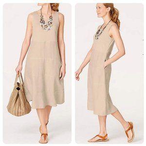 J Jill 100% Linen Mixed-Media Tiered Dress L